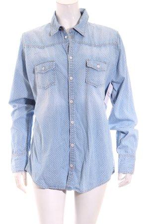 Marc O'Polo Langarmhemd weiß-himmelblau Punktemuster Street-Fashion-Look