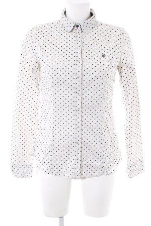 Marc O'Polo Langarmhemd wollweiß-schwarz Punktemuster Elegant
