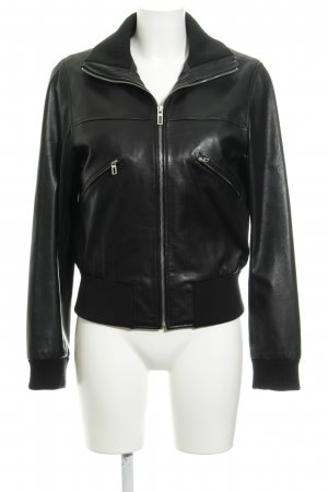 Marc O'Polo Lederjacke schwarz Casual-Look