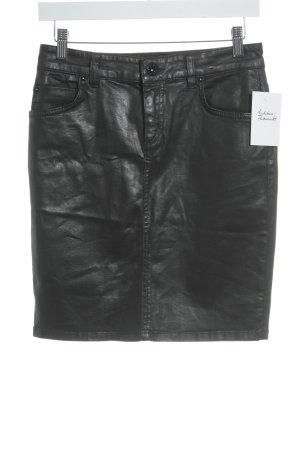 Marc O'Polo Falda de cuero negro reluciente