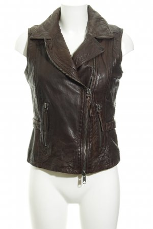 Marc O'Polo Leather Vest dark brown casual look
