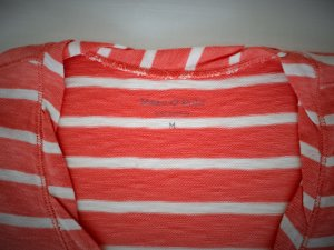 Marc O'Polo Longsleeve Longshirt Shirt weiß-orange gestreift Gr. M