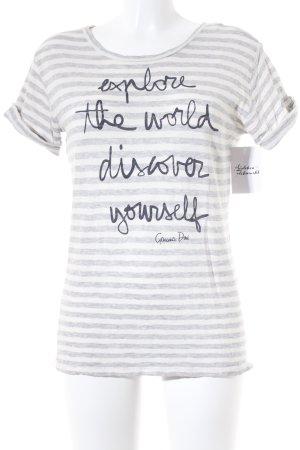Marc O'Polo T-Shirt weiß-hellgrau Streifenmuster Casual-Look
