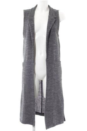 Marc O'Polo Gilet long tricoté gris foncé-noir moucheté style décontracté