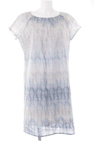 Marc O'Polo Midikleid blassblau-weiß abstrakter Druck Boho-Look