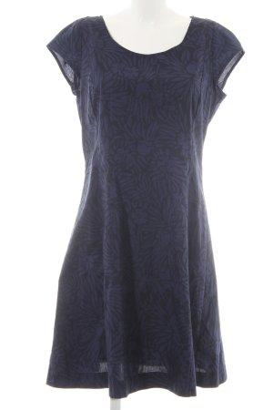 Marc O'Polo Midikleid blau-schwarz florales Muster Casual-Look
