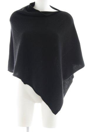 Marc O'Polo Poncho zwart losjes gebreid patroon straat-mode uitstraling