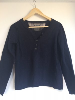 Marc O' Polo Pullover in dunkelblau mit Patches am Ellenbogen