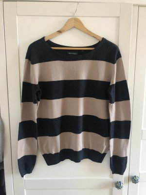 Marc O'Polo Pullover Wolle grau beige gestreift S 38