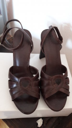 Marc O'Polo Strapped High-Heeled Sandals brown leather
