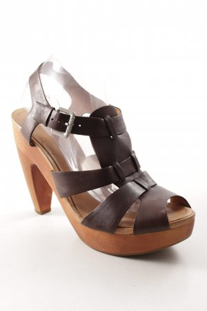 Marc O'Polo Strapped High-Heeled Sandals dark brown-cognac-coloured