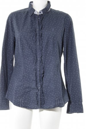 Marc O'Polo Ruffled Blouse dark blue-white spot pattern romantic style