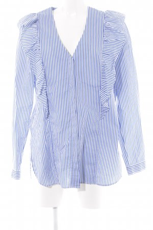 Marc O'Polo Ruche blouse staalblauw-wit gestreept patroon casual uitstraling