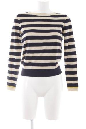 Marc O'Polo Kraagloze sweater donkerblauw-licht beige gestreept patroon