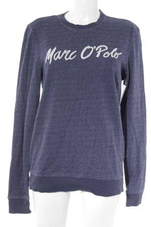 Marc O'Polo Rundhalspullover dunkelblau-weiß Schriftzug gestickt Casual-Look