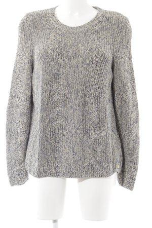 Marc O'Polo Kraagloze sweater licht beige-donkerblauw gestippeld