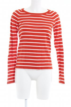 Marc O'Polo Rundhalspullover rot-weiß Casual-Look