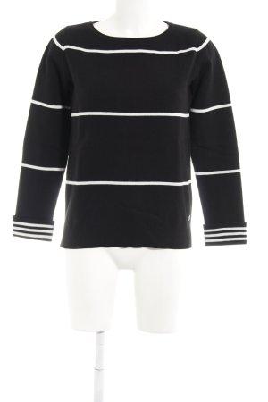 Marc O'Polo Rundhalspullover schwarz-weiß Streifenmuster Casual-Look