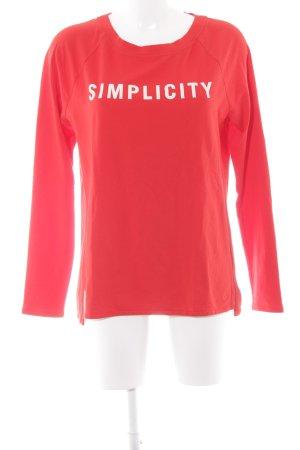 Marc O'Polo Rundhalspullover weiß-rot Schriftzug gedruckt sportlicher Stil