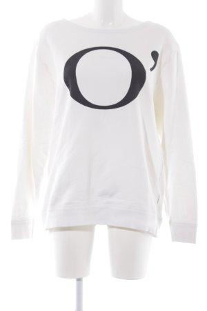 Marc O'Polo Rundhalspullover weiß-schwarz Motivdruck Casual-Look