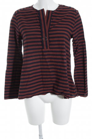 Marc O'Polo Schlupf-Bluse rostrot-dunkelblau Streifenmuster Casual-Look