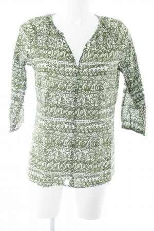 Marc O'Polo Schlupf-Bluse weiß-grasgrün abstraktes Muster Casual-Look