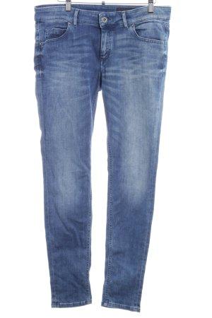 Marc O'Polo Slim Jeans stahlblau-weiß Farbverlauf Logo-Applikation aus Leder