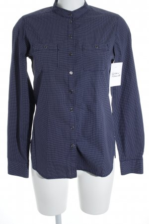 Marc O'Polo Stehkragenbluse dunkelblau-weiß Punktemuster Casual-Look