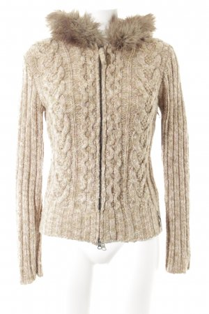 Marc O'Polo Strickjacke beige meliert Logo-Applikation