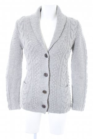 Marc O'Polo Strickjacke hellgrau Zopfmuster Casual-Look