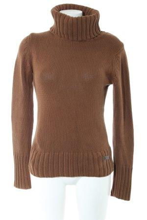 Marc O'Polo Pull tricoté brun torsades style décontracté