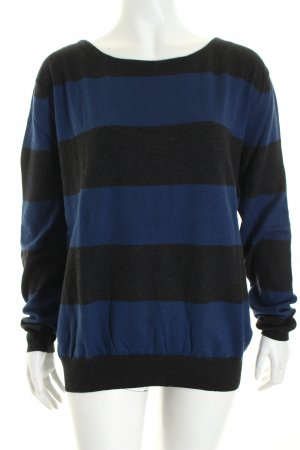 Marc O'Polo Strickpullover anthrazit-blau Streifenmuster Casual-Look