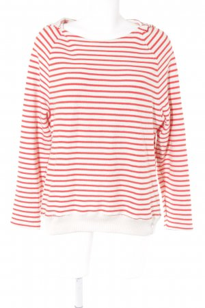 Marc O'Polo Strickpullover creme-rot Streifenmuster Casual-Look