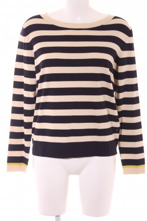 Marc O'Polo Strickpullover dunkelblau-creme Streifenmuster Casual-Look