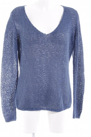 Marc O'Polo Strickpullover stahlblau Lochstrickmuster Casual-Look