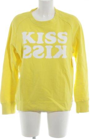 Marc O'Polo Sweatshirt gelb-weiß Schriftzug gedruckt Casual-Look
