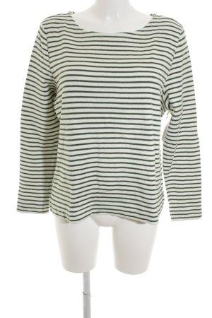 Marc O'Polo Sweatshirt waldgrün-wollweiß Streifenmuster Casual-Look