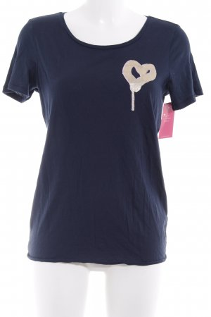 Marc O'Polo T-Shirt dunkelblau-goldfarben Motivdruck Casual-Look
