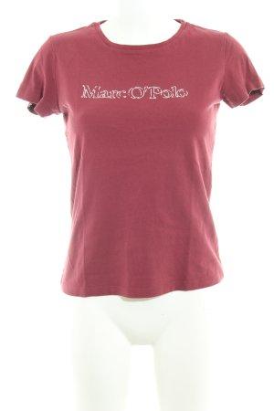 Marc O'Polo Camiseta rojo oscuro-color plata letras impresas look casual