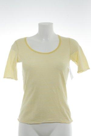Marc O'Polo T-Shirt gelb-weiß Streifenmuster Logoprint