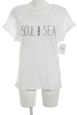 Marc O'Polo T-Shirt weiß-dunkelblau Schriftzug gedruckt Marine-Look