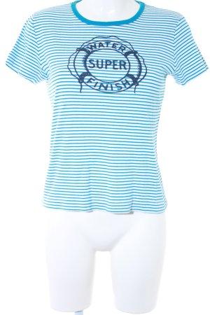 Marc O'Polo T-shirt bianco-turchese Stampa a tema stile marinaro