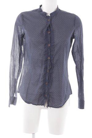 Marc O'Polo Transparenz-Bluse dunkelblau-braun Punktemuster Casual-Look