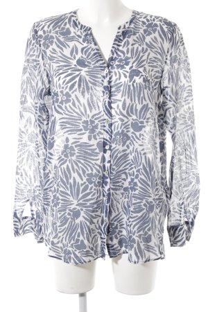Marc O'Polo Tunikabluse stahlblau-wollweiß florales Muster schlichter Stil