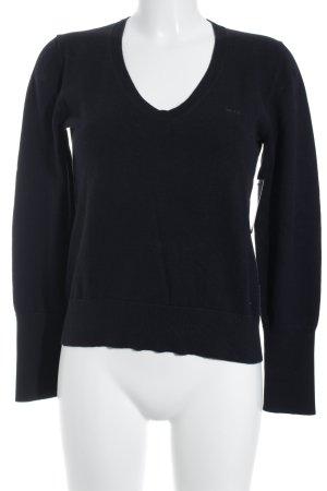 Marc O'Polo V-Ausschnitt-Pullover dunkelblau schlichter Stil