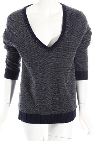 Marc O'Polo V-Ausschnitt-Pullover dunkelgrau-dunkelblau Streifenmuster