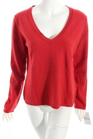Marc O'Polo V-Ausschnitt-Pullover rot-hellbraun sportlicher Stil