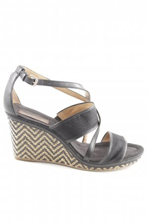 Marc O'Polo Wedge Sandals black-cream cable stitch street-fashion look