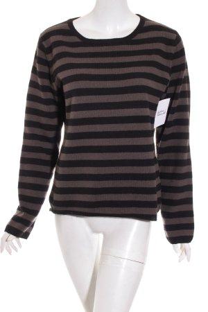 Marc O'Polo Jersey de lana marrón claro-negro estampado a rayas look casual