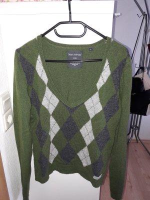 Marc O' Polo! Wollpullover mit Kaschmir, grün mit Rauten, Gr. L